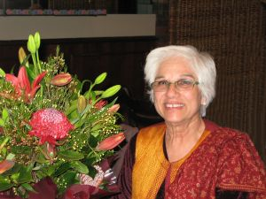 Supriya with the flowers from Eltham Bookshop